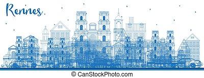 blu, città, contorno, francia, orizzonte, rennes, edifici.