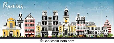 blu, città, costruzioni, sky., colorare, francia, orizzonte, rennes