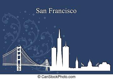 blu, città, francisco, silhouette, san, orizzonte, fondo