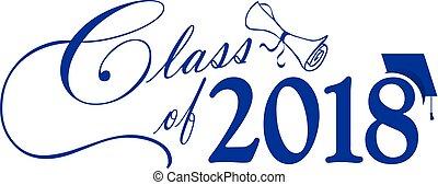 blu, classe, berretto, diploma, 2018