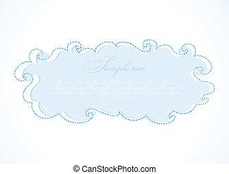 blu, cloud., astratto, vettore, cornice