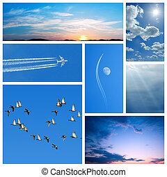blu, collage, sky-related, immagini