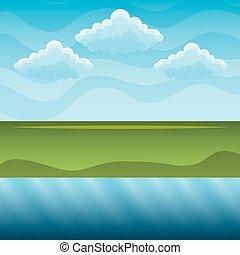 blu, colline, cielo, fiume verde, paesaggio