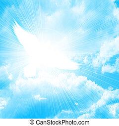 blu, colomba, ardendo, cielo