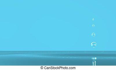 blu, colorare, acqua, interpretazione, schizzo, fondo, 3d, bello