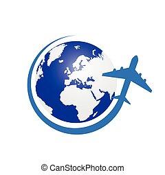 blu, colorare, aeroplano, pianeta, vettore