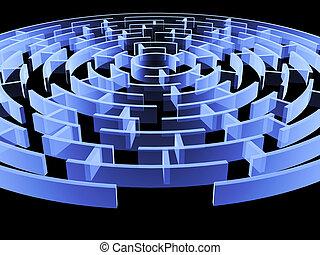 blu, colorare, circolare, 3d, labirinto