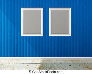 blu, colorare, cornice, interpretazione, interno, parete bianca, 3d