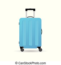 blu, colorare, viaggiare, illustrazione, valigia, ruote