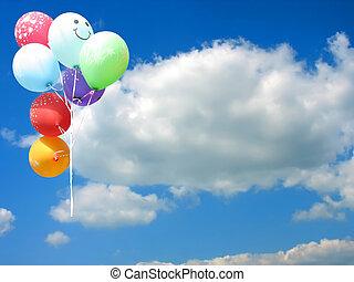 blu, colorato, testo, cielo, contro, posto, festa, palloni, tuo, vuoto
