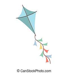 blu, colorato, volare, fondo, bianco, aquilone