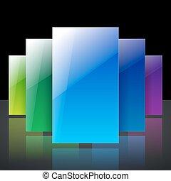 blu, colorito, baluginante, astratto, giallo, infographic, verde, riflessioni, fondo, nero, rettangoli, trasparente