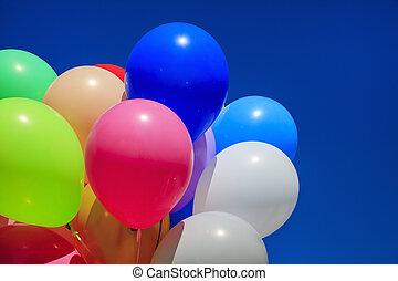blu, colorito, cielo, contro, luminoso, palle