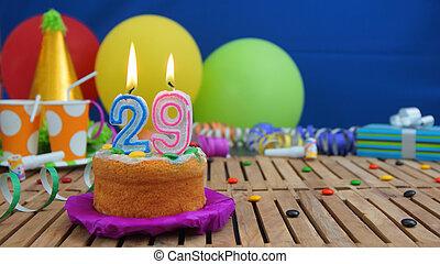 blu, colorito, legno, caramelle, candele, fuoco, plastica, rustico, fondo., regali compleanno, fondo, palloni, torta, tavola, campanelle, parete