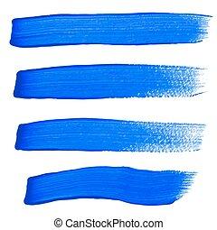 blu, colpi, vettore, spazzola, inchiostro