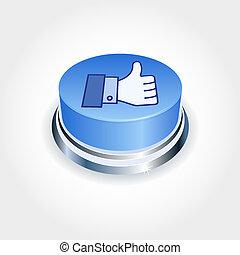 blu, come, media, concept., su, sociale, perspective., bottone, pollice
