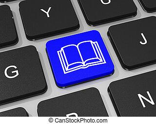 blu, computer., chiave computer portatile, tastiera, e-libro
