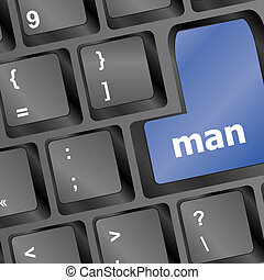 blu, computer portatile, chiave, tastiera, uomo