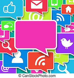 blu, comunicazione, sopra, fondo, icone
