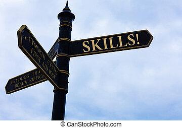 blu, concetto, abilità, natura, molto, testo, cielo, incrocio, nuvoloso, segno, fondo., significato, skills., qualcosa, scrittura, scrittura, bene, strada