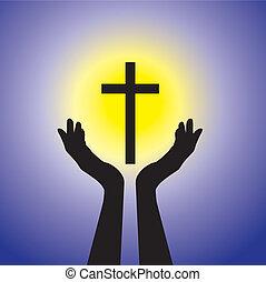 blu, concetto, cristiano, fedele, santo, sole, o, -, giallo, gesù, persona, devoto, fondo, pregare, worshiping, cross(christ), crocifisso