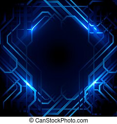 blu, concetto, fondo., astratto, linee, luci, disegno, tecnologia