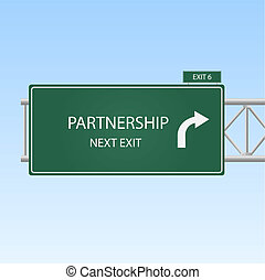 """blu, concetto, immagine, cielo, segno, fondo., uscita, """"partnership"""", autostrada"""