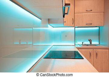 blu, condotto, moderno, illuminazione, lusso, cucina