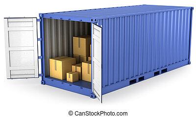 blu, contenitore, aperto, dentro, scatole, cartone