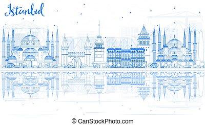 blu, contorno, istanbul, limiti, orizzonte, reflections.