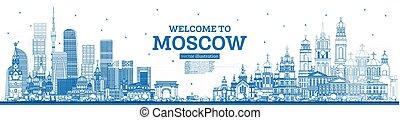 blu, contorno, mosca, benvenuto, orizzonte, russia, edifici.