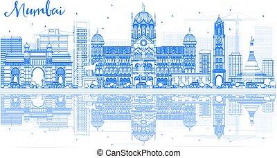 blu, contorno, mumbai, limiti, orizzonte, reflections.