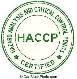 blu, controllo, haccp, francobollo, analisi, gomma, points), critico, (hazard, grunge, rotondo, certificato
