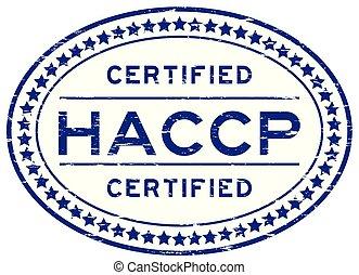 blu, controllo, haccp, francobollo, (hazard, analisi, gomma, points), critico, sigillo, ovale, grunge
