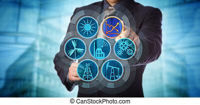 blu, controllo, scheggia, efficienza, direttore, energia