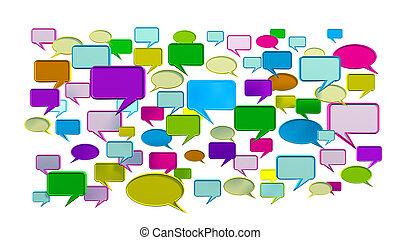 blu, conversazione, colorito, icone