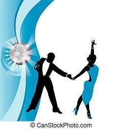 blu, coppia, fondo, ballo