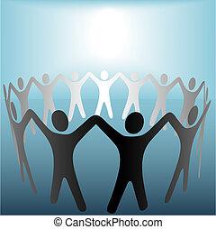 blu, copyspace, persone, mani, macchia, luminoso, sotto, cerchio, presa