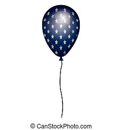 blu, corda, globo, bianco, stelle