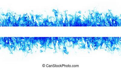 blu, cornice incendio, fiamma, fondo, bianco