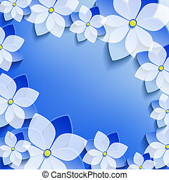 blu, cornice, sakura, floreale, elegante, fiori, 3d