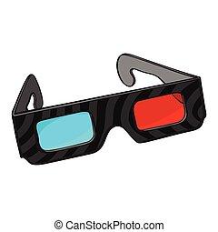blu, cornice, stereoscopic, plastica, nero, occhiali, rosso, 3d