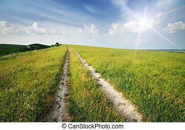 blu, corsia, strada, profondo, sky.