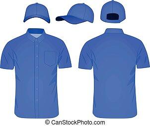 blu, corto, manica camicia, berretto, baseball