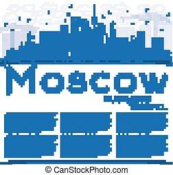 blu, costruzioni, contorno, mosca, space., orizzonte, copia, russia