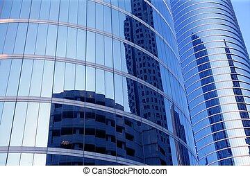 blu, costruzioni, vetro, grattacielo, specchio, facciata