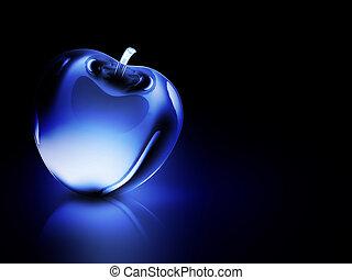 blu, cristallino, mela