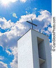 blu, cristiano, chiesa, cielo, croce, sotto