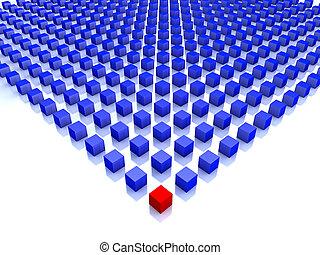 blu, cubi, uno, campo, angolo, rosso