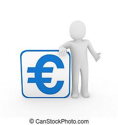 blu, cubo, 3d, euro, uomo